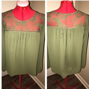 MINE PAISLEY MESH LACE GREEN DRESS TOP BLOUSE L